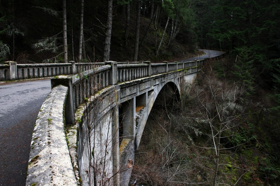 An old moss covered stone bridge on Orcas Island in Washington State.
