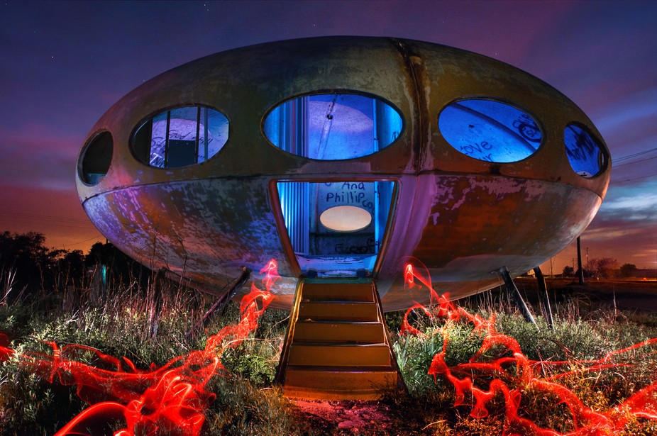 An abandoned \'Futuro\' house becomes a hillbilly starship under the right lighting. This was a ver...