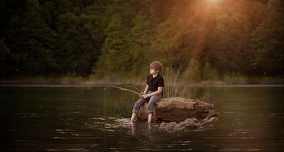Fishing, fireflies, crickets and frogs