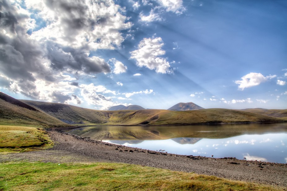 HDR photo of Akna lake, 3030m, situated in Geghama mountains, Armenia