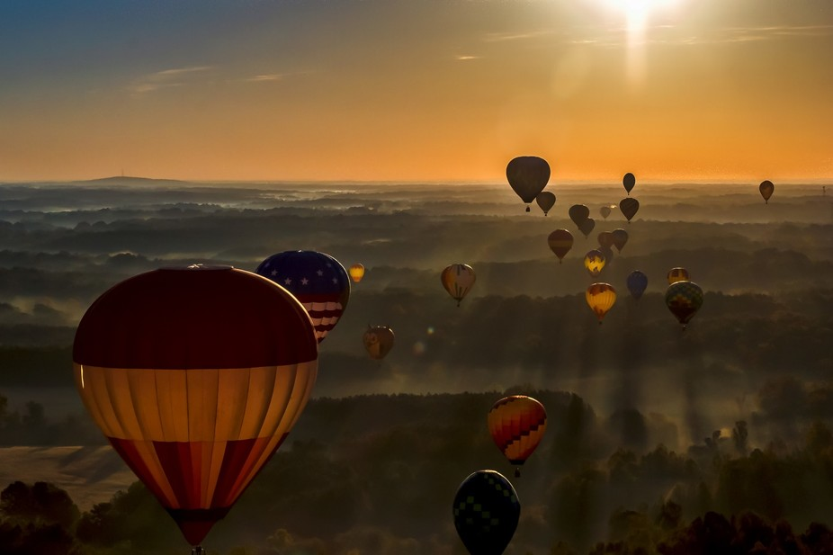 View of the NC BalloonFest from a balloon