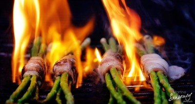 Fire grilled bacon wrapped asparagus