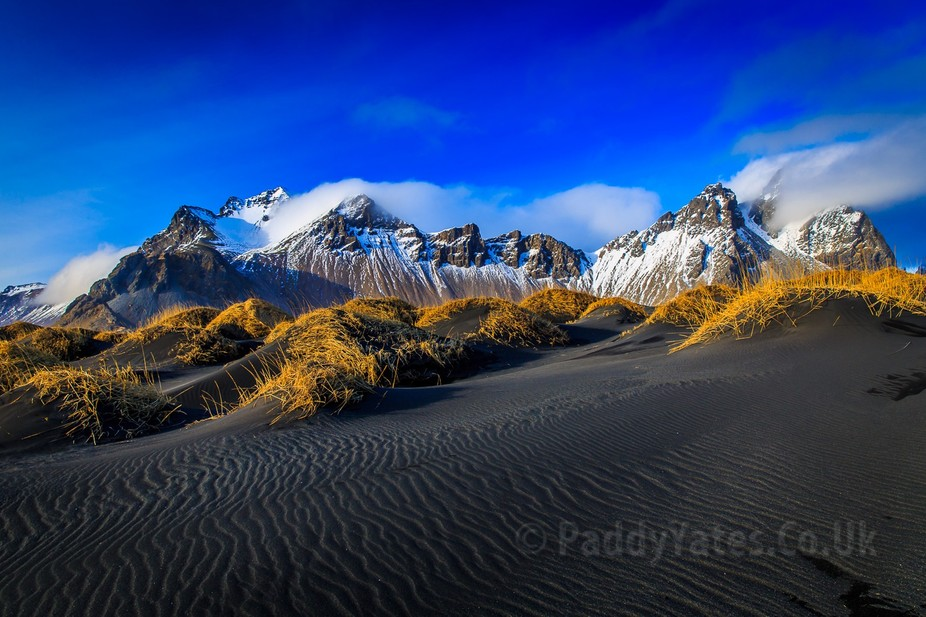 Image taken from the black sand dunes of Stokksnes, Southern Iceland.   The Vestrahorn mountains ...