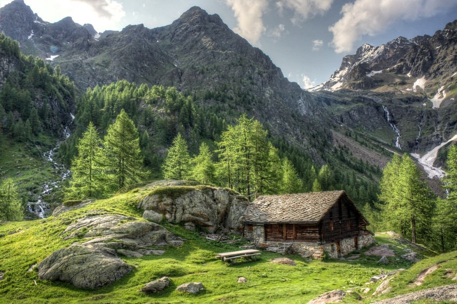 A little part of paradise in the Alps in Piemont, Italy