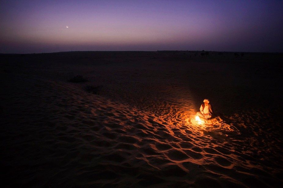 A camel rider in the midst of The great Indian desert - Thar.