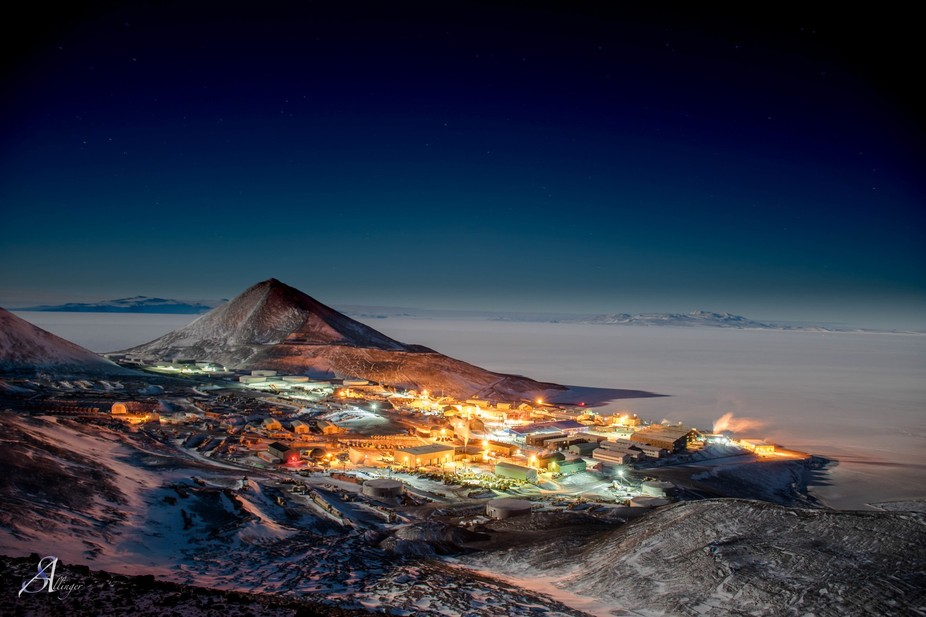 Taken atop arrival heights, just below the NASA dome, this photo shows the layout of McMurdo stat...