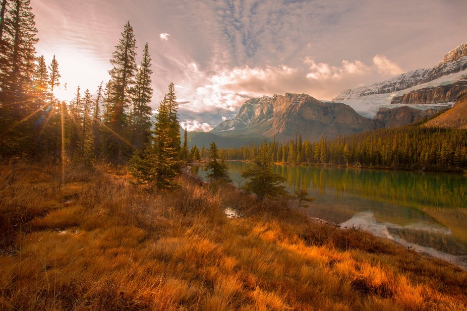 This was taken at Bow Lake near Banff on Oct 9,2015