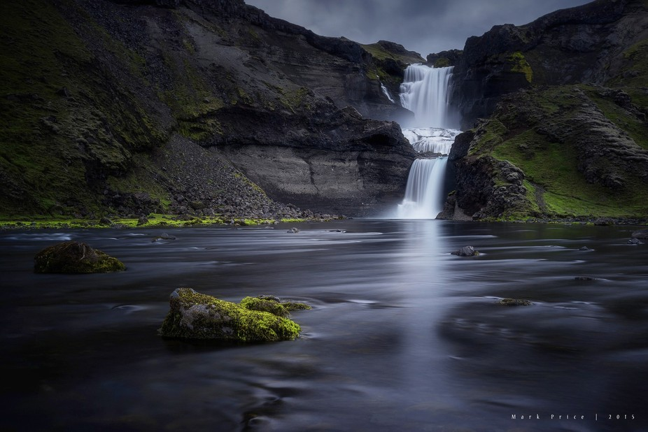 This image is of a waterfall named Ófærufoss in the Eldgjá Volcanic Chasm, which is deep in th...