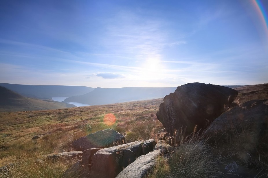 The view above Dovestone reservoir