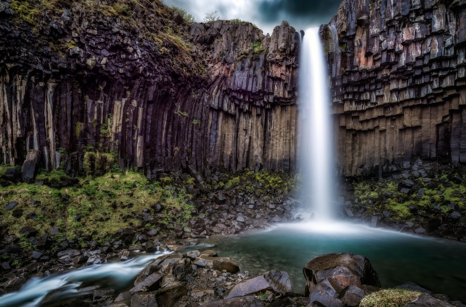 Svartifoss, or the  black waterfall is located in Vatnajökull National Park in Iceland. It is su...