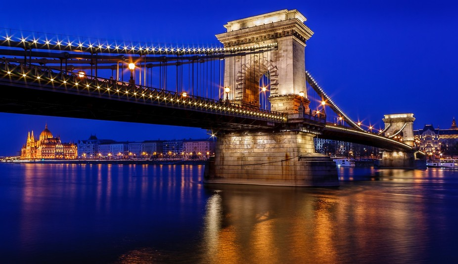 One of the beautiful bridges that cross the Danube River in Budapest, Hungary.