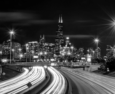 Willis Tower and Light Trails
