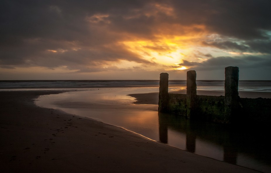Sunset over Barmouth Beach North Wales