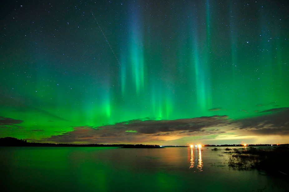 It was early October - a beautiful fall night in central Alberta - and Lady Aurora came out to da...