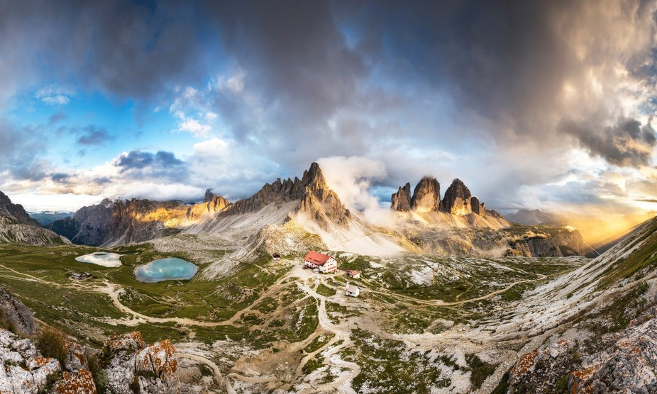 The Tre Cime di Lavaredo. The last light shining over the mountain tops in the Dolomites