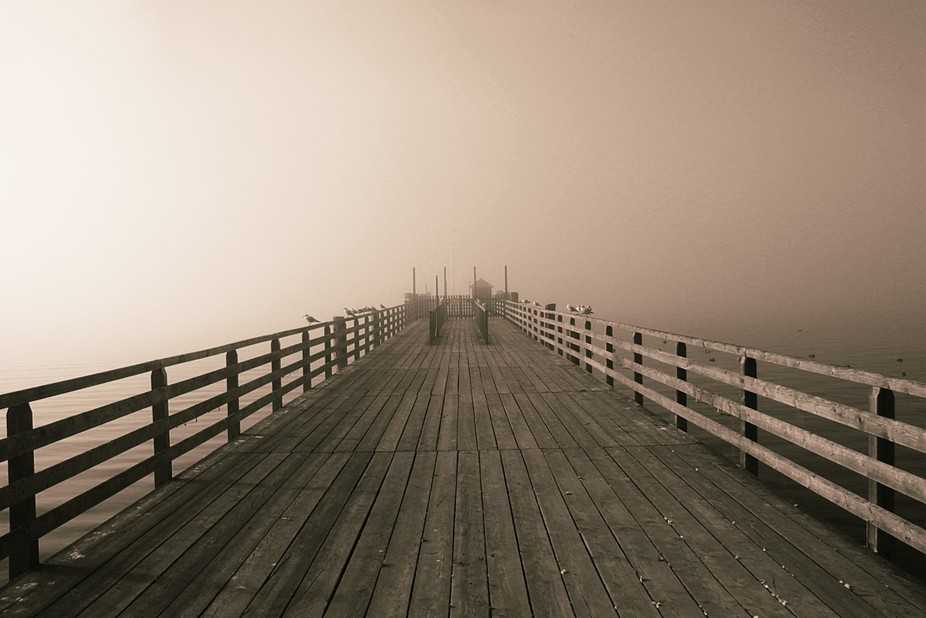 Pier captured on a foggy morning - Ammersee - Bavaria (Germany)