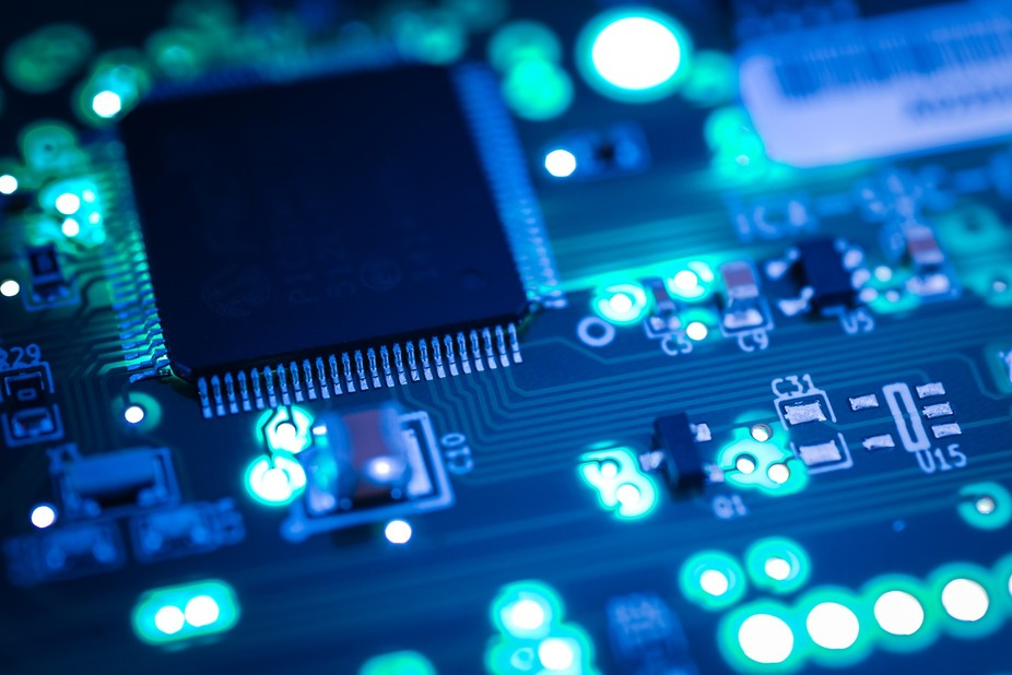 This is photograph of a printed circuit board or pcb. Photographed for a clients website