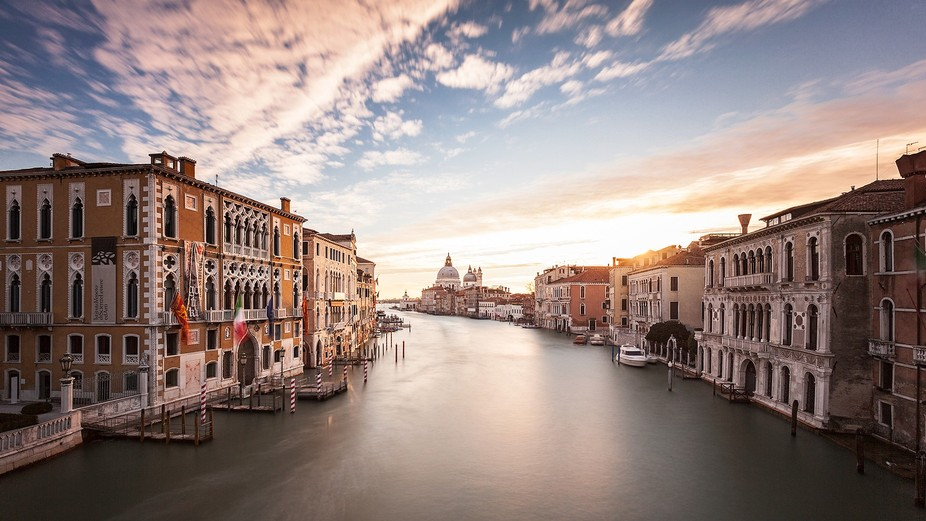 The photo shows a very common motive with the Canal Grande seen from Academia bridge towards Sant...