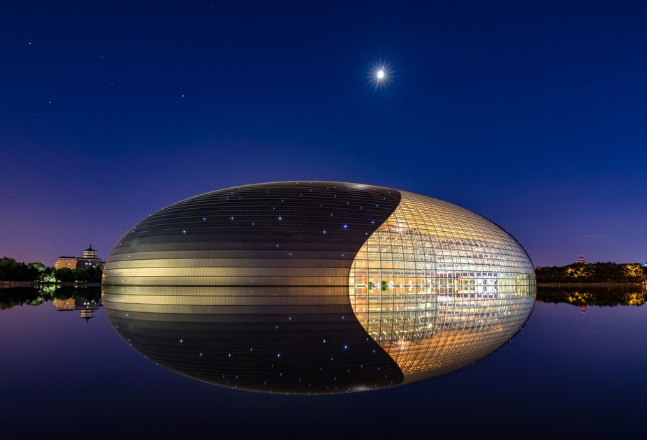 National Center for the Performing Arts reflecting in the lake, Beijing, China