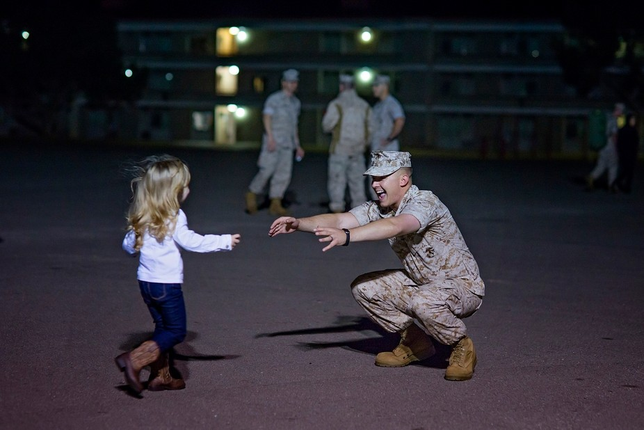 Little Ellie welcomed home her dad from deployment.