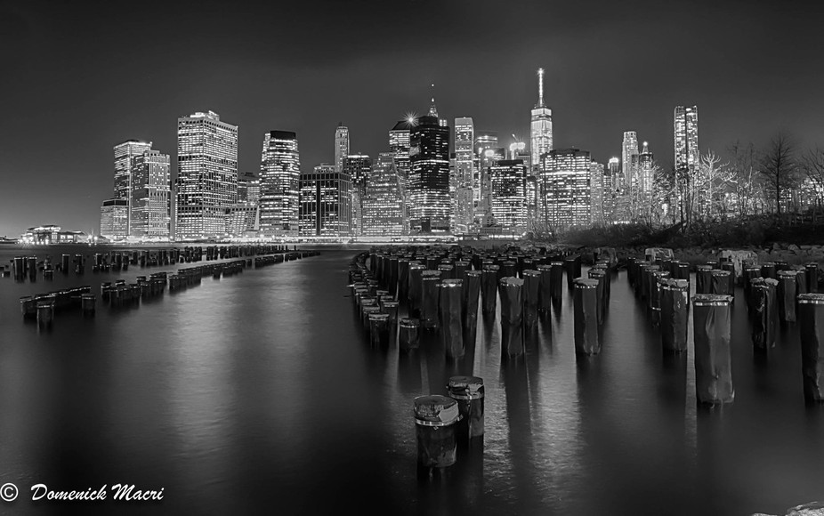 Black and white view of NYC from the  brooklyn  peer