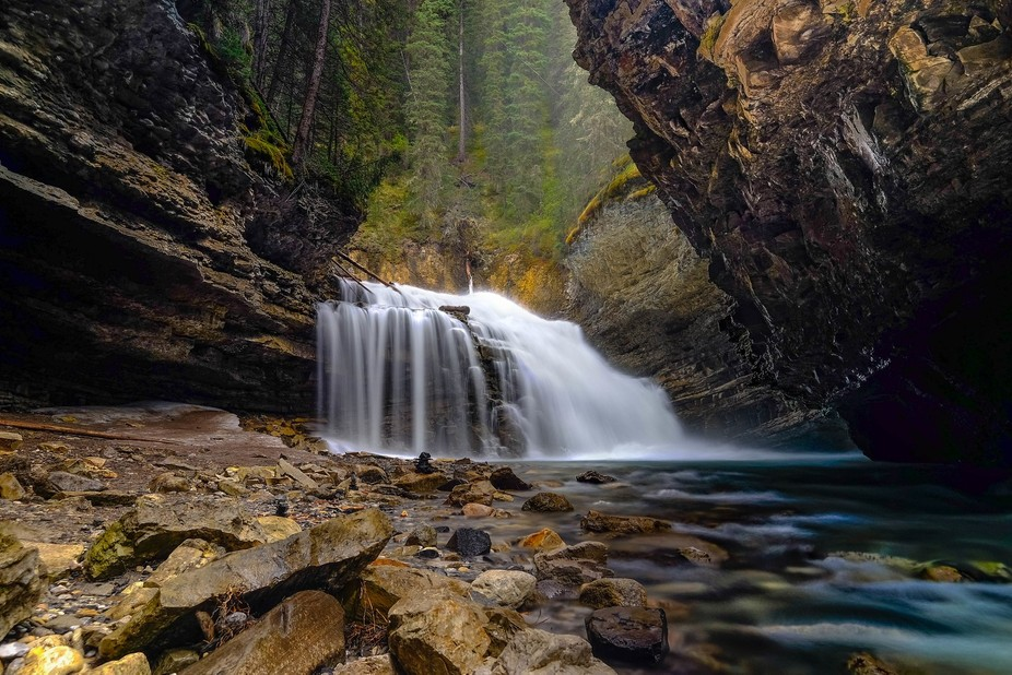Took this picture at Johnston Canyon in Banff National Park this past June. This waterfall, somet...