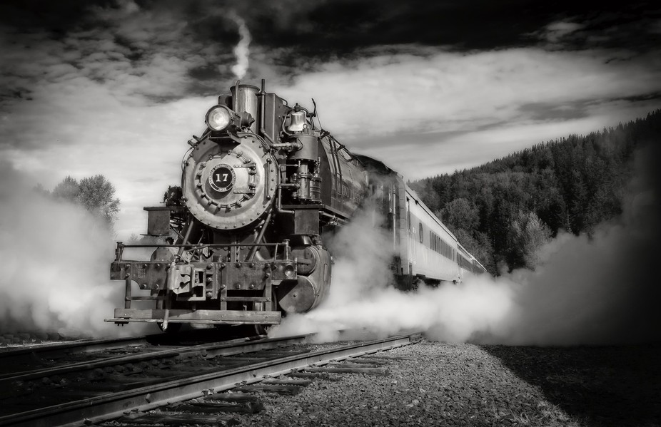 A low camera angle emphasized the size and power of this engine.  I also used a selective dark-gl...