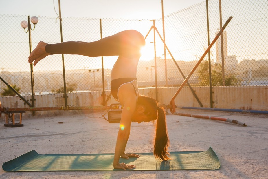 picture of the gorgeous yan at sunset during outdoor yoga training