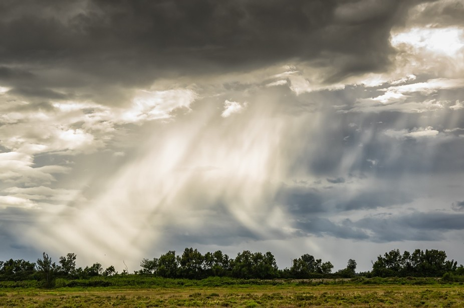 Camargue, France, as a storm approaches rain starts to drop and sun lights it