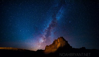Courthouse Towers, Arches National Park with Milky Way