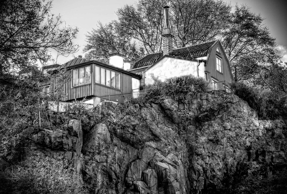 House on a rock in stockholm sweden