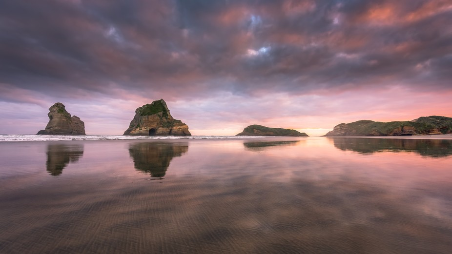 Sunrise on Wharariki beach, South Island , New Zealand