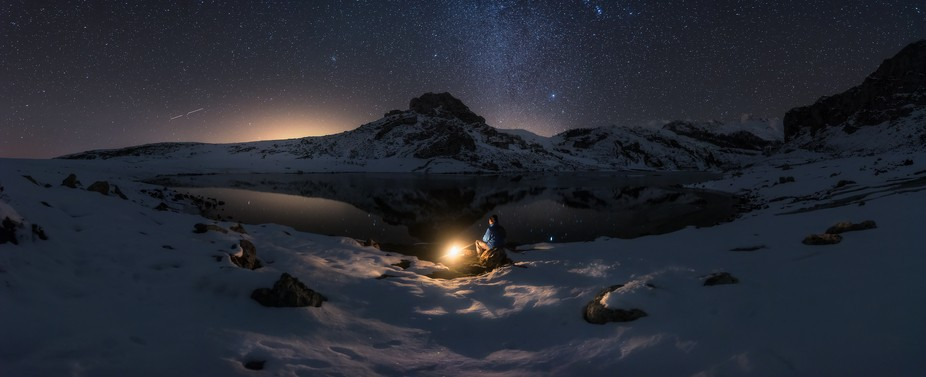Night in the national park of picos de europa in the north of Spain, place where only the mountai...