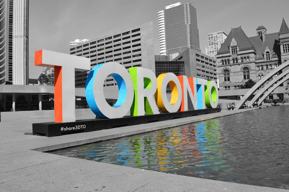 This fun light up sign brings a pop of colour to the city
