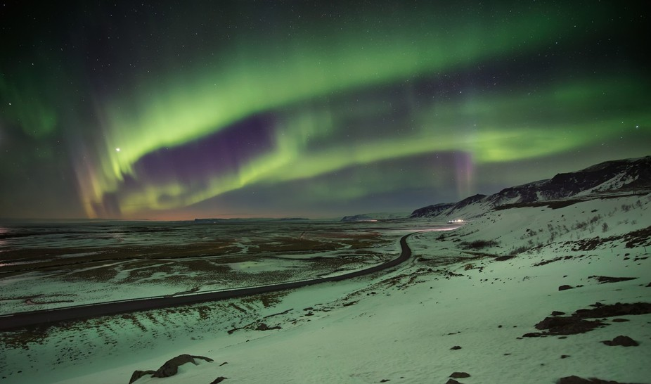 Hof, Iceland. Strong aurora displays over 4 nights, very cold but watching the lights dance throu...