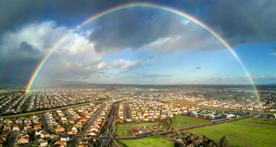 A beautiful double rainbow forms after storm in Brentwood, California. Captured using a DJI Mavic...