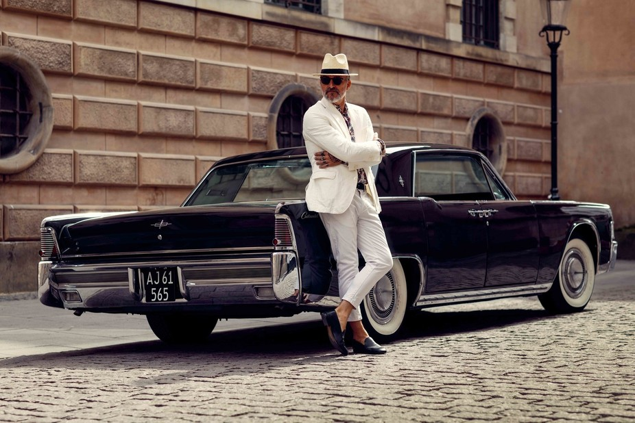 Nicho Oppermann posing in front of my 65 lincoln