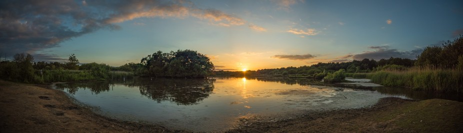A gorgeous sunset led me to take this panoramic shot which is made up from 5 images.