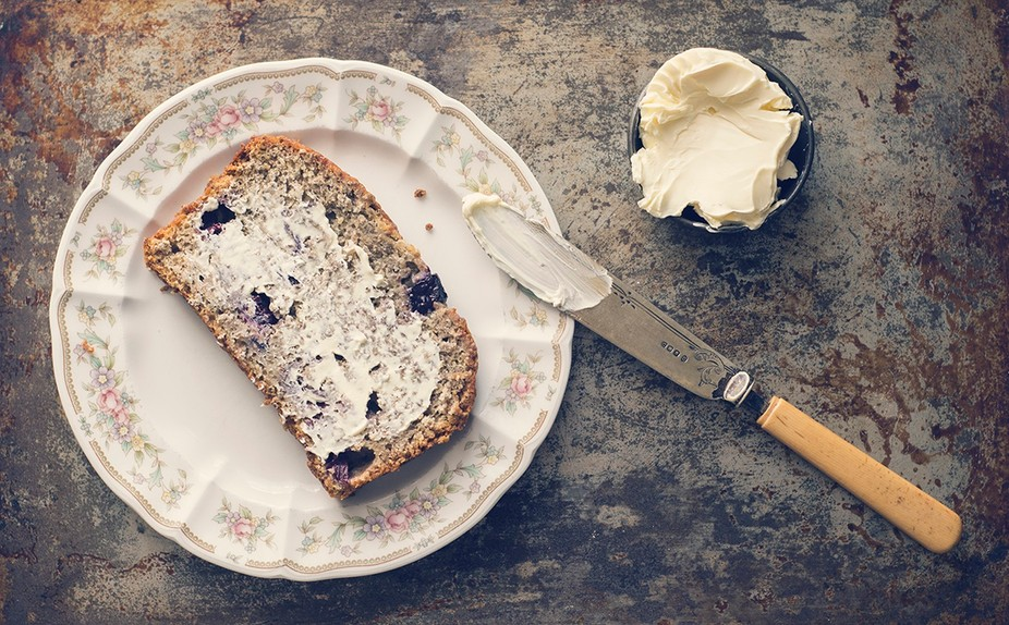 A blueberry banana bread shoot