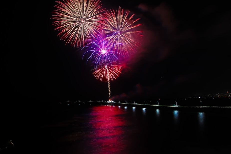 2017, 4th of July fireworks at the OB pier in San Diego,