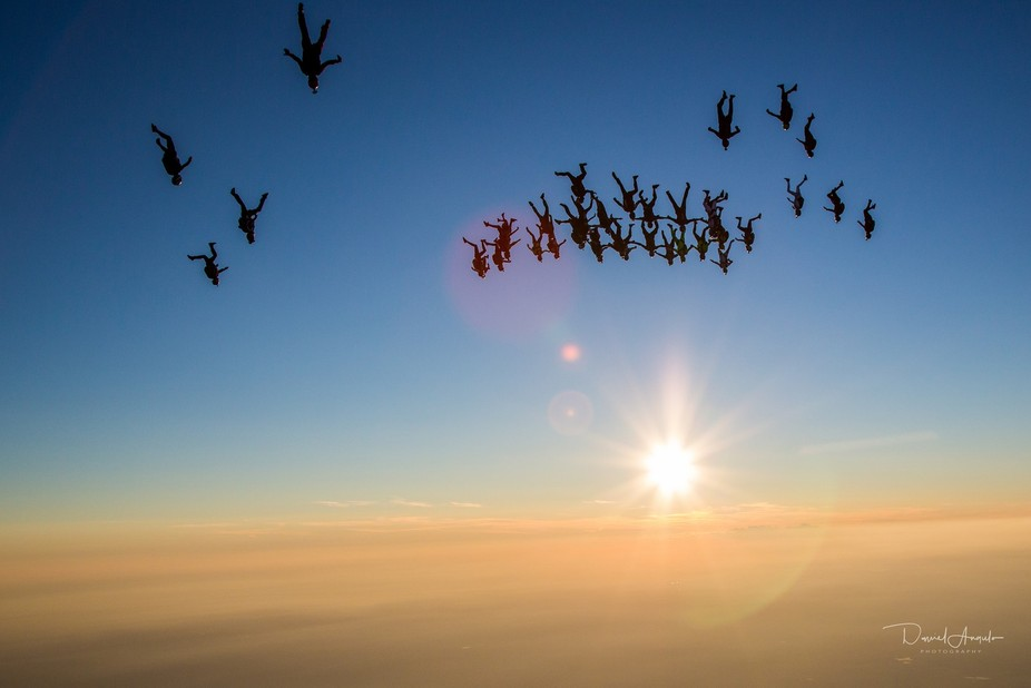 A group of 42 people fly together to get a world record at Skydive Chicago, Illinois.