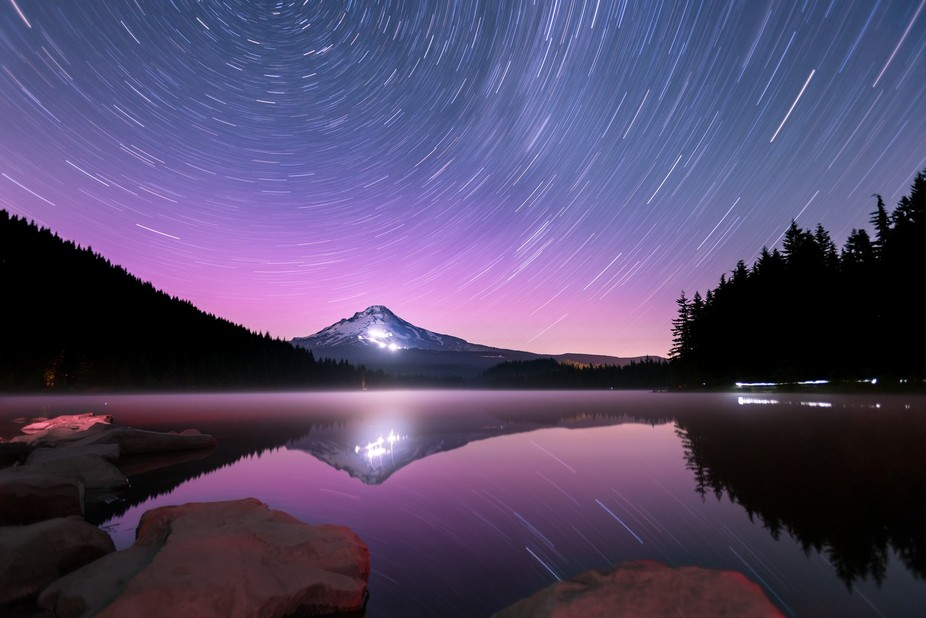 This is a 32-minute shot from Lake Trillium, with Mount Hood and the universe looming in the back...