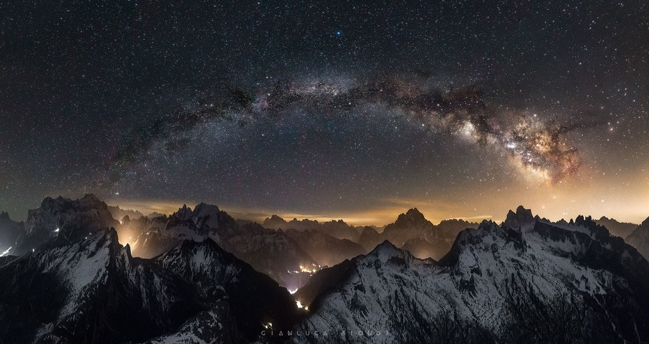 A took this photo during a windly night in Dolomites, temperature was very cold, and the milky wa...