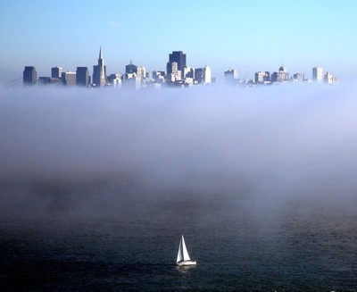 Boat Separated from SF Skyline by Bank of Fog    fIMGL9689