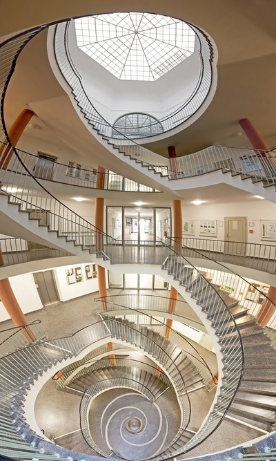 panorama of a spiral staircase