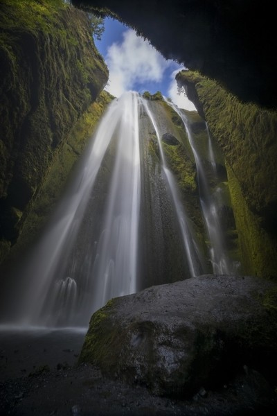 The secret waterfall in the narrow canyon