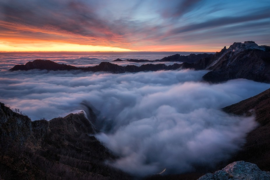 A beautiful sea of clouds in the Apuan Alps