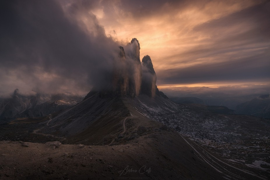 A dark tone sunset in front of Tre Cime di Lavaredo, one of my favorite place in Italian Dolomites.