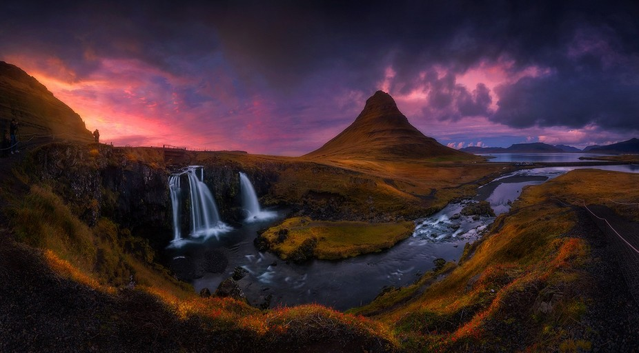 panorama of kirkjufellfoss and kirkjufell mountain... amazing place with so many people - i&...