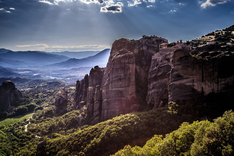 A divine light shining on the Monasteries of Meteora